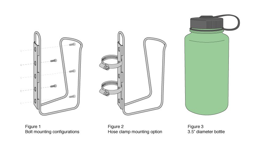 LiterCage mounting options with Nalgene bottle